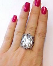New Sterling Silver and Long CZ Large Cocktail Bling Ring Size 6