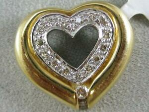ESTATE DIAMOND 14K WHITE YELLOW GOLD FLOATING PAVE OPEN HEART PENDANT #L1336.122