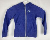 Nike Sportswear Full-zip Hoodie Heathered Blue Logo Swoosh Size M Girls