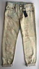 NWT Auth R13 Denim women's selvedge shredded relaxed skinny jeans size 25 Italy