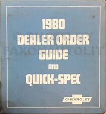 1980 Chevy Order Guide Dealer Album Options Upholstery Chevrolet Showroom Book