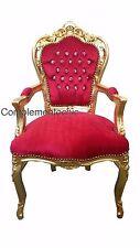 Poltrona Barocco Stile Luigi Foglia Oro Velluto Rosso Con Strass