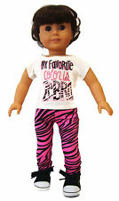 "Zebra Leggings & Top T-Shirt 2 Piece Outfit for 18"" American Girl Doll Clothes"