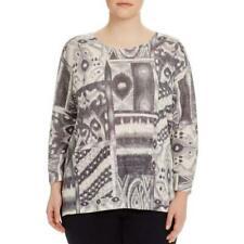 Nally & Millie Womens Sweater Grey Print Crew Hi-Low Pullover Tunic 1X NWT $96