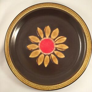 Retro Vintage Stoneware Dinner Serving China Plate Brown Yellow Red Flower