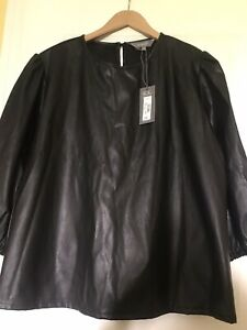 Principles Black Leather look Top Size 22 New