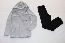 Mädchen Sweatshirt long mit Kaputze grau und Leggings NEU Gr. 110-146