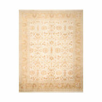 8'10'' x 12'5'' Hand Knotted Muted 100% Wool Peshawar Traditional Area Rug Beige