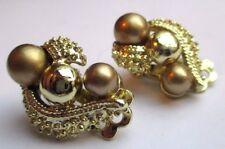 boucles d'oreilles clips vintage couleur or effet diamanté perle signé Coro 2878