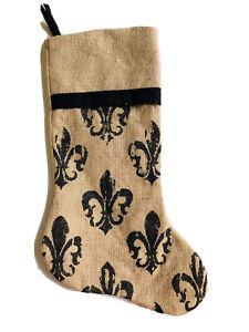 19 In Fleur De Lis Symbol Of France Beige Christmas Stocking