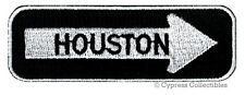 ONE-WAY SIGN PATCH - HOUSTON TEXAS EMBROIDERED iron-on TRAVEL EMBLEM APPLIQUE