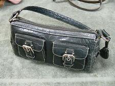 Dooney & Bourke Black Croc Double Front Pocket Purse Handbag Shoulderbag Tote