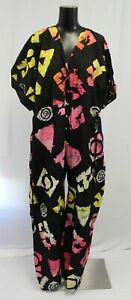 Osei-Duro Women's Button Down Funny Fun Opus Jumpsuit FR7 Black Multi Size 2XL