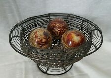"""New! 13.5 """" Beautiful Handmade Wire & Twisted Metal Footed Centerpiece Deco Bowl"""