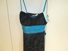 Speechless Dress Black Teal Satiny Tie  Sheer Lined Flower  NWOT  Size XS