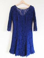 Review Size 12 French Navy Lace 3/4 Sleeve Fit Flare Evening Cocktail Dress