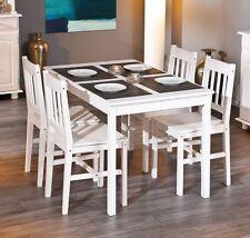 Esstisch Tisch mit vier Stühlen Kiefer massiv weiss lackiert Woody 148-00556