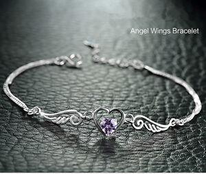 925 Sterling Silver Angel Wing Heart Charm Linked Bracelet Womens Jewellery Gift