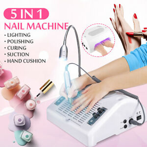 5 In 1 Nail LED UV Nail Lamp Gel Dryer Dust Collector Milling Polish + Drill