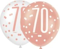 """6 x 12"""" Rose Gold 70 Latex Balloons Ladies 70th Birthday Party Decoration Helium"""