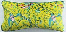 Emma Shipley ROUSSEAU LIME VELVET cushion FREE FEATHER PAD 59cm x 30cm (#1)