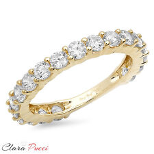 2.20 CT Round Cut 19-Stone Engagement Wedding Ring Band SOLID 14K Yellow Gold