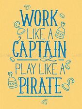 QUOTE TEXT WORD MOTIVATION WORK CAPTAIN PIRATE LARGE ART PRINT LF1145