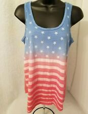 Freeze Womens Red Blue American Flag Tank Top Shirt Blouse Size XS OR S READ