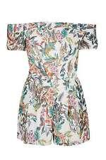 Topshop LOVE Tropical Print Turn Up Sleeve Playsuit UK 12 EURO 40 US 8 BNWT