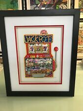 "Charles Fazzino "" Slots of Fun "" 3-D Artwork Signed & Numbered Deluxe Ed Framed"