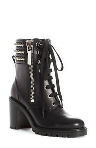 NIB Christian Louboutin Black Leather Winter Spike Lace Up Boot EUR 35.5 US 5
