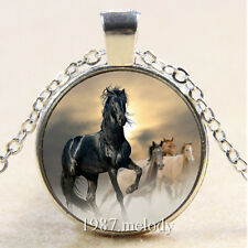New Cabochon Glass Tibet Silver/Bronze/Black Chain Pendant Necklace Horses