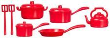 Dolls House Miniature Kitchen Accessory Red Saucepan Pan Set 1:12 Cookware