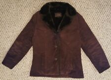 Guess Woman's Genuine Brown Leather Suede Jacket Coat Faux Fur Lining Size M