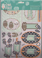 Docrafts Owl Folk Decoupage Kit, 4 Pages Decoupage & 4 Matching Papers BN