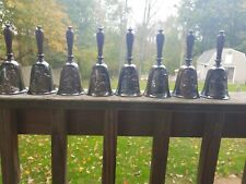 Norman Rockwell Limited Edition Collection Of 8 Silver Plated Shaker Bells 79-81