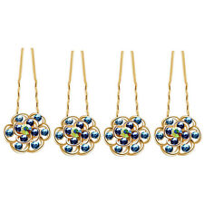 Luxury Bridal Godl Blue Flowers 4 Hair Pins Accessories Head Decoration HA204A