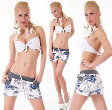 SEXY Hose kurze Hose Shorts Bermudas Freizeithose geblümt Weiß Blau 34 36 38