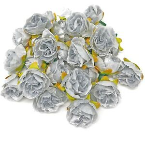 Silver Rose Bud Decorative Synthetic Flowers (Faux Silk) - UK SELLER