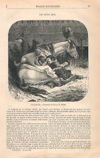 Ecurie Cheval Chien Poule Coq Fillette Dessin de Théophile Schuler GRAVURE 1866