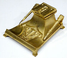 STUNNING! 1800's Antique VICTORIAN Gold Gilt BRONZE Art Nouveau INKWELL