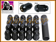 20 GORILLA SPLINE TUNER LOCK LUG NUT 12X1.25 1.25 ACORN WHEEL RIM BLACK CLOSE S
