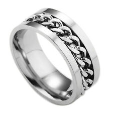 Fashion Men's Stainless Steel Rotatable Chain Band Ring Silver/Black/Gold