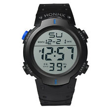 Mode Herren Kinder Sport Armbanduhr LCD Digital Datum Rubber Watch Wasserdicht
