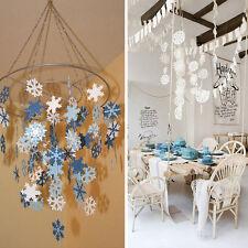 12pcs Christmas Snowflake Hanging Paper Party Decor Tree Ornament Strings Garlan
