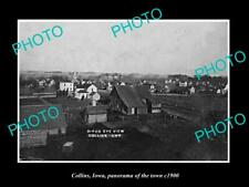 OLD POSTCARD SIZE PHOTO OF COLLINS IOWA PANORAMA OF THE TOWN c1900