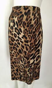 ESCADA DE 40 UK 14 Brown Black Animal Print Skirt Gold Zip At Back