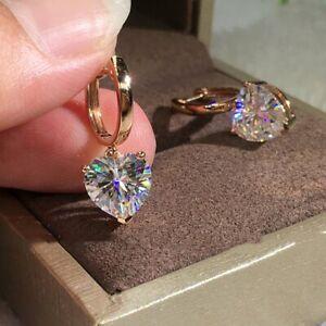 2021 Fashion Love Heart Zircon Stud Earrings Dangle Charm Women Wedding Jewelry