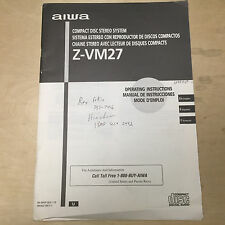 AIWA Owner Manual for the Z-VM27 CD Compact Stereo System
