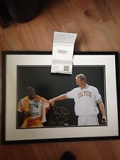 Larry Bird Magic Johnson UDA Upper Deck Signed Auto Autographed Photo Framed !!
